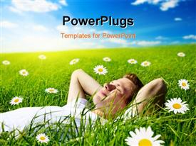 PowerPoint template displaying young man in flowers in the background.