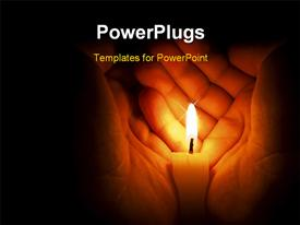 PowerPoint template displaying candle in two hands at the dark in the background.