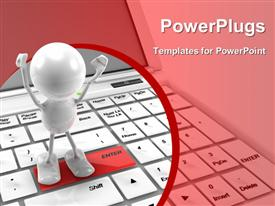 PowerPoint template displaying a 3D character standing on an enter tab on a keyboard