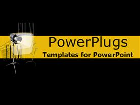 PowerPoint template displaying black and yellow film collage of lights filmstrip in the background.