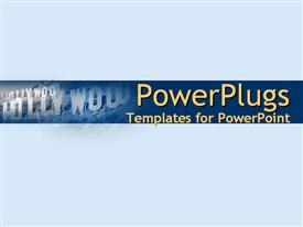 PowerPoint template displaying light blue movie collage with Hollywood in the background.