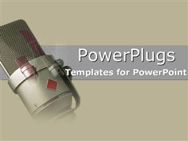 PowerPoint template displaying microphone on gray and olive