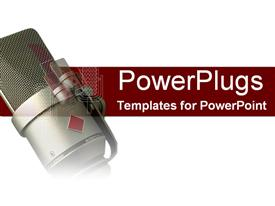 PowerPoint template displaying microphone on red and white in the background.