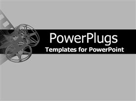 PowerPoint template displaying movie collage of projector reels and film in the background.