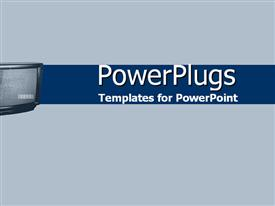 PowerPoint template displaying tV screen in blues in the background.