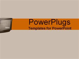 PowerPoint template displaying tV screen in orange and gray in the background.
