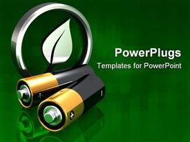 PowerPoint template displaying two AA batteries arranged in front of an upright metal green leaf symbol in the background.