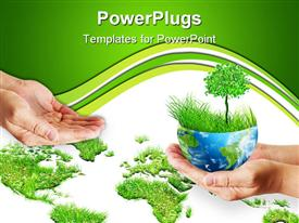 PowerPoint template displaying hands holding globe. Environmental energy concept in the background.