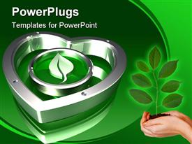 PowerPoint template displaying metallic green leaf symbol hovering inside of a metallic chrome heart