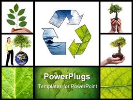 PowerPoint template displaying collage of depictions representing recycling, green living and environment