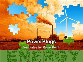 PowerPoint template displaying puzzle to make this world a greener place to live in the background.