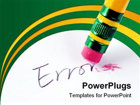 PowerPoint template displaying erase the word Error with a rubber concept of eliminating the error/mistake