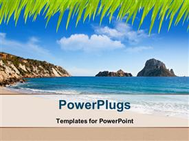 PowerPoint template displaying beautiful beach view with blue cloudy sky and mountains in distance