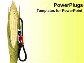 PowerPoint template displaying cornstalk with gas pump attached on it, on gradient white to bright yellow background