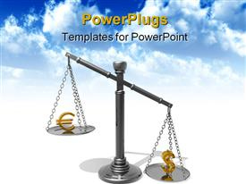 PowerPoint template displaying metallic balance with a golden dollar and euro symbol