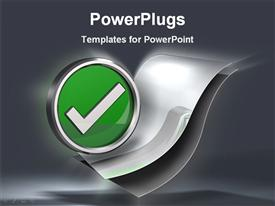 PowerPoint template displaying metallic green check mark symbol hovering over a set of blank paper documents