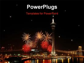 PowerPoint template displaying the depiction of celebrations with fireworks and lighting on the buidlings