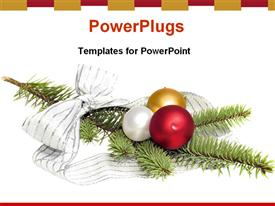 PowerPoint template displaying holiday decorations christmas tree ribbons balls white background