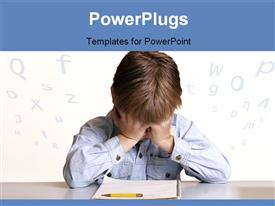 PowerPoint template displaying frustrated child sitting at table with pencil and notebook