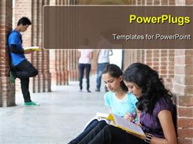 PowerPoint template displaying group of Indian Students studying in college in the background.