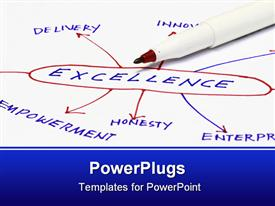 PowerPoint template displaying excellence in a chart - many uses in the manufacturing industry in the background.