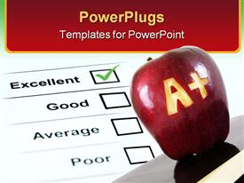 PowerPoint template displaying a plus carved into an apple with report sheet showing excellent mark
