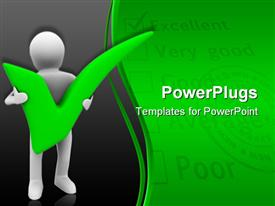 PowerPoint template displaying animated depiction of a human figure carrying a green pass mark