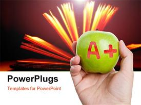 Green apple and A Plus sign Concept of learning presentation background