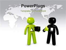 PowerPoint template displaying two people having different shapes in the middle