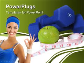 PowerPoint template displaying dumbbells measuring tape and apple