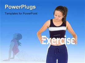 PowerPoint template displaying a beautiful girl exercising with bluish background
