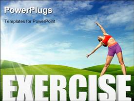 Exercise word in 3D template for powerpoint
