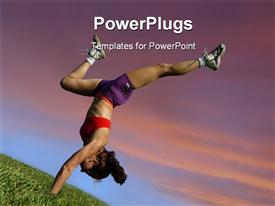 PowerPoint template displaying a woman showing her acrobatic skills