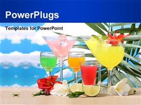 PowerPoint template displaying six glasses with colorful cocktails and sliced lemons and flowers