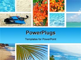 PowerPoint template displaying tropical collage. Exotic travel. Caribbean sea Dominican Republic