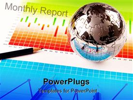 PowerPoint template displaying chrome jigsaw puzzle globe sitting on business charts with pencil