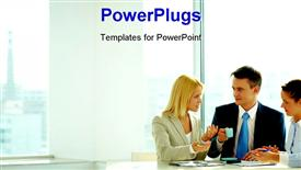 Smart woman explaining her idea to colleagues in office template for powerpoint