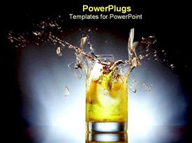 PowerPoint template displaying glass with energy drink explode shards of glass from exploding glass of yellow drink