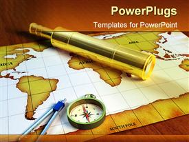PowerPoint template displaying gold and white colored map with a compass on a brown surface
