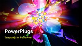 PowerPoint template displaying dynamic burst of abstract color forms and lights against dark background on the subject of positive