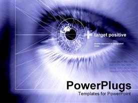 PowerPoint template displaying close up of pupil of human eye with geometric shapes on a blue background
