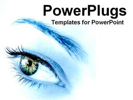 PowerPoint template displaying blue woman's eye envisioning future as a metaphor on a white background