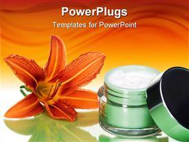 PowerPoint template displaying orange blooming lily behind moisturizer jar