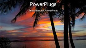 PowerPoint template displaying colorful sunset at Waikiki Hawaii. just before the sun goes down in the background.