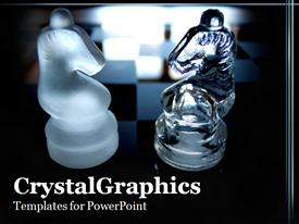 PowerPoint template displaying a couple of chess pieces with chess board in the background