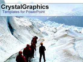 PowerPoint template displaying team of hikers walking on a snow filled mountain