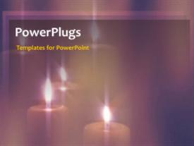 PowerPoint template displaying a number of candles with a colorful background