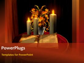 PowerPoint template displaying the holy bible with candles and flowers