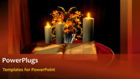 PowerPoint template displaying holy bible with candles and flowers