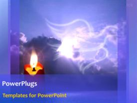 PowerPoint template displaying animated depiction of lighted candle with bird flying in cloudy sky
